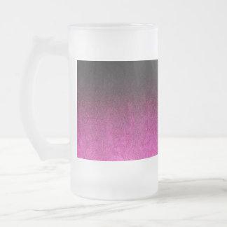 Falln Pink & Black Glitter Gradient Frosted Glass Beer Mug