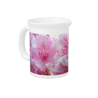 Falln Pink Floral Blossoms Drink Pitcher