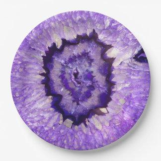 Falln Purple Agate Geode Paper Plate
