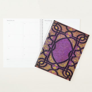 Falln Purple And Gold Vines Planner