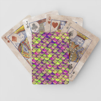 Falln Purple and Green Scales Bicycle Playing Cards