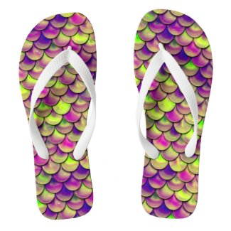 Falln Purple and Green Scales Flip Flops