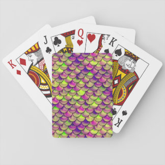 Falln Purple and Green Scales Playing Cards