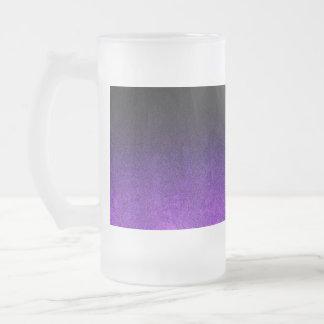 Falln Purple & Black Glitter Gradient Frosted Glass Beer Mug