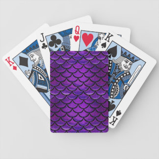 Falln Purple & Blue Mermaid Scales Bicycle Playing Cards