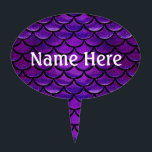 """Falln Purple &amp; Blue Mermaid Scales Cake Topper<br><div class=""""desc"""">Express your inner Mermaid!  Click 'Customize' to add in your own personalized text!</div>"""