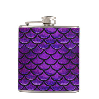Falln Purple & Blue Mermaid Scales Hip Flask