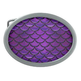 Falln Purple & Blue Mermaid Scales Oval Belt Buckle