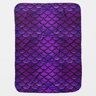 Falln Purple & Blue Mermaid Scales Receiving Blanket