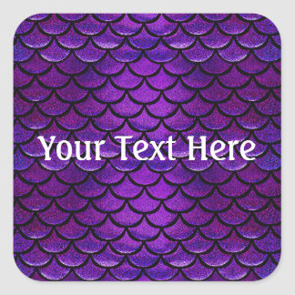 Falln Purple & Blue Mermaid Scales Square Sticker