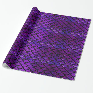 Falln Purple & Blue Mermaid Scales Wrapping Paper