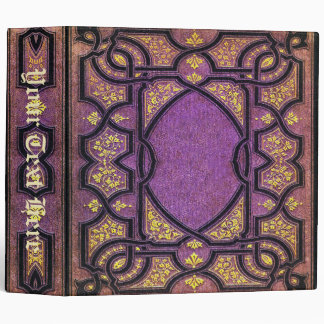 Falln Purple & Gold Vines Book Cover 3 Ring Binder