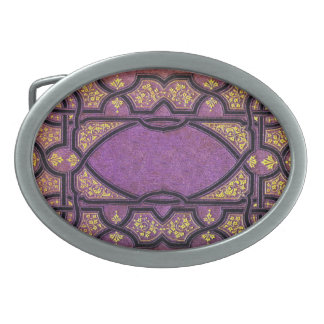 Falln Purple & Gold Vines Book Cover Belt Buckle