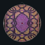 """Falln Purple &amp; Gold Vines Book Cover Dartboard With Darts<br><div class=""""desc"""">The beautiful image is made from an antique book cover from the late 1800′s,  that I digitally restored.  Click 'Customize' to add your own personalized text!</div>"""