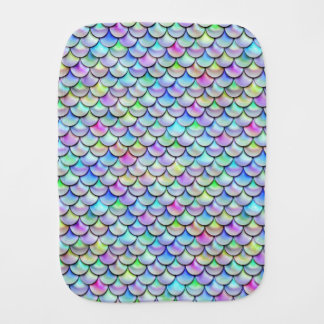 Falln Rainbow Bubble Mermaid Scales Baby Burp Cloth