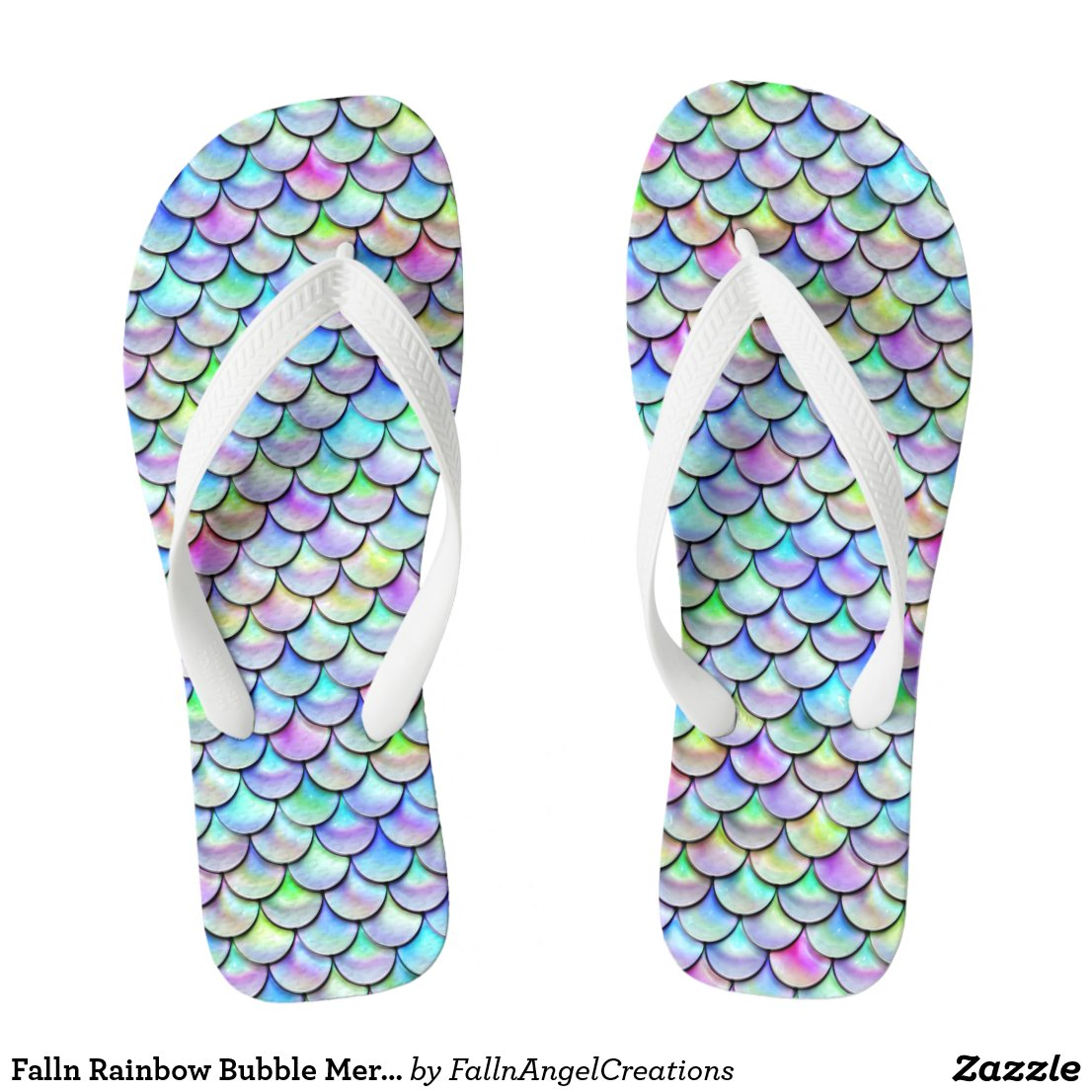 Falln Rainbow Bubble Mermaid Scales Flip Flops