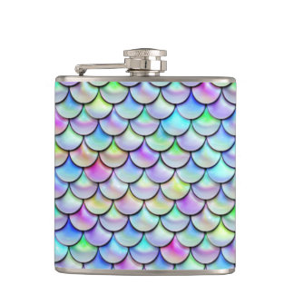 Falln Rainbow Bubble Mermaid Scales Hip Flask