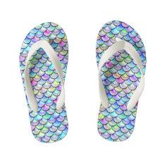 Falln Rainbow Bubble Mermaid Scales Kid's Flip Flops at Zazzle