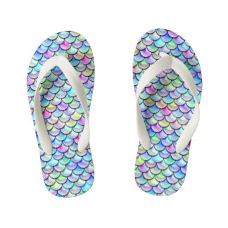 Falln Rainbow Bubble Mermaid Scales Kid's Flip Flops