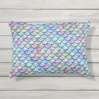 Falln Rainbow Bubble Mermaid Scales Outdoor Pillow