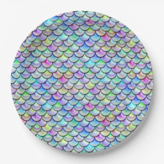 Falln Rainbow Bubble Mermaid Scales Paper Plate