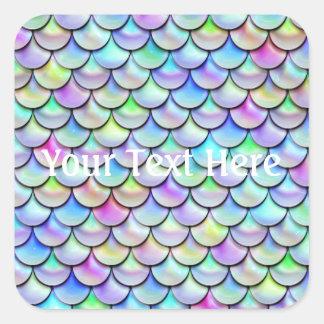 Falln Rainbow Bubble Mermaid Scales Square Sticker