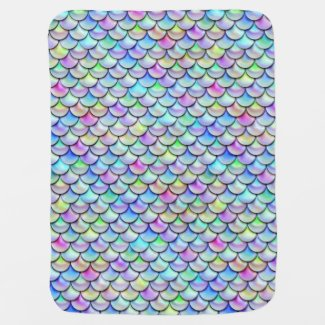 Falln Rainbow Bubble Mermaid Scales Stroller Blanket