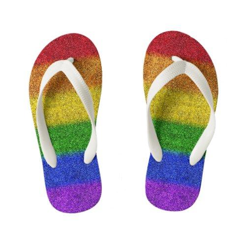 Falln Rainbow Glitter Gradient Kid's Flip Flops