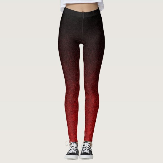 Falln Red & Black Glitter Gradient Leggings