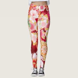 Falln Red Floral Burst Leggings