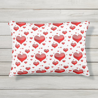 Falln Red Hearts (You Choose Background Color!) Outdoor Pillow