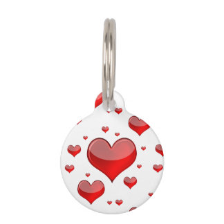 Falln Red Hearts (You Choose Background Color!) Pet Tag
