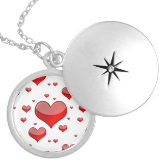 Falln Red Hearts (You Choose Background Color!) Silver Plated Necklace