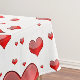Falln Red Hearts (You Choose Background Color!) Tablecloth