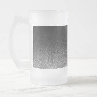 Falln Silver & Black Glitter Gradient Frosted Glass Beer Mug