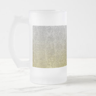 Falln Silver & Gold Glitter Gradient Frosted Glass Beer Mug
