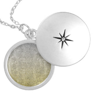 Falln Silver & Gold Glitter Gradient Locket Necklace