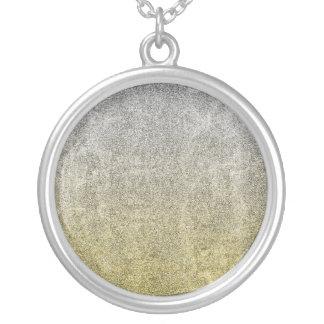 Falln Silver & Gold Glitter Gradient Silver Plated Necklace