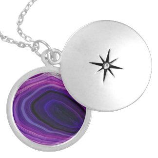 Falln Swirled Purple Geode Locket Necklace