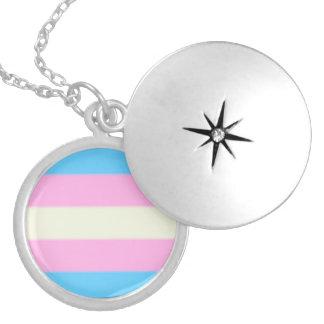 Falln Transgender Pride Flag Round Locket Necklace