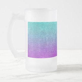 Falln Tropical Dusk Glitter Gradient Frosted Glass Beer Mug