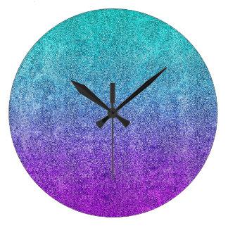 Falln Tropical Dusk Glitter Gradient Large Clock