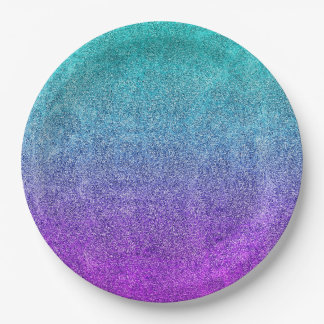 Falln Tropical Dusk Glitter Gradient Paper Plate