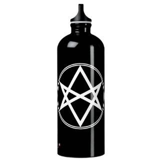Falln Unicursal Hexagram White Aluminum Water Bottle