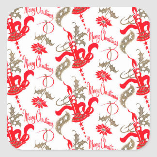 Falln Vintage Merry Christmas Candles Square Sticker