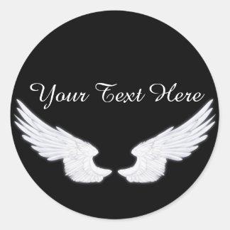 Falln White Angel Wings Classic Round Sticker