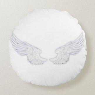 Falln White Angel Wings Round Pillow