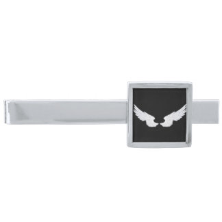 Falln White Angel Wings Silver Finish Tie Bar