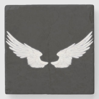 Falln White Angel Wings Stone Coaster