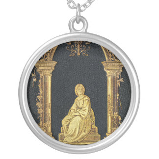 Falln Woman in Gold Book Cover Silver Plated Necklace